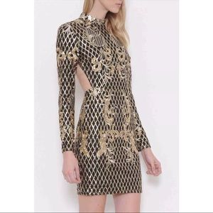 Dresses & Skirts - GOLD SEQUIN PATTERN OPEN BACK MINI DRESS